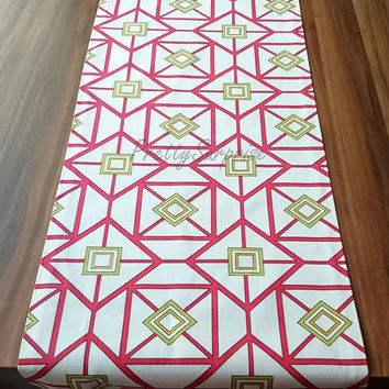 New!! Premier Geometric Table Runner, Decorative Table Runner, Red Table Runner, Dinner Party Decor, Cotton Table Runner