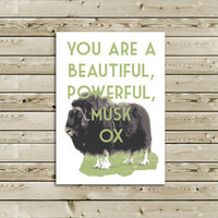 Funny Parks and Rec Thank You Greeting Card -- You Are  Beautiful, Powerful, Musk Ox