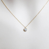 Tiny, Round, Cubic, Gold, Silver, Necklace, Lovely, Modern, Cubic, Necklace, Lovers, Friends, Mom, Sister, Gift, Accessories, Jewelry
