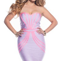 Katy Lavender and Neon Pink Sweetheart Strapless Bandage Dress