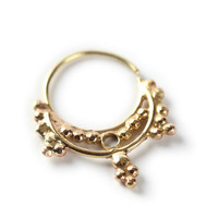 NOSE RING - Hindi Gold nose ring 14 karat yellow gold - gold Nose Ring- nose jewelry - septum ring - tragus piercing