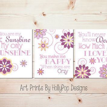 Baby Girl Nursery Art You are My Sunshine Purple Pink Yellow Wall Art Baby Girl Nursery Art Girl bedroom Artwork Toddler Girl Nursery Art