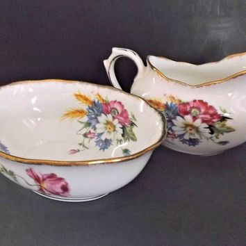 Royal Albert Harvest Bouquet Creamer Sugar Vintage Bone China Floral