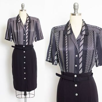 Vintage 1980s ESCADA Dress - SILK & Wool Navy Blue Shirt Front Day Dress 80s - Medium M