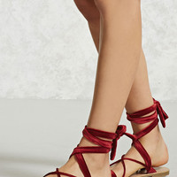 Velvet Ankle-Wrap Sandals