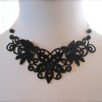 Black Lace Necklace Victorian Choker Fabric Jewelry Collar Retro Romantic Dramatic bib Jewelry Whimsical Statement vintage style.