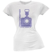 Photographer Blow Things Up Funny White Juniors Soft T-Shirt