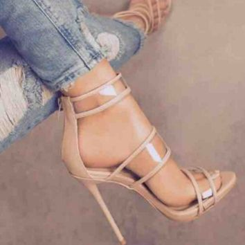 Autumn Party Clubwear Shoes Women PVC Clear Transparent Strapy Ankle Strap Sandals High Heel Stiletto Pumps
