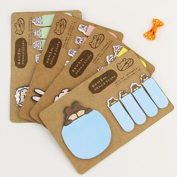 1pcs Novelty Kawaii Animal Kraft Paper Mini Memo Pad Sticky Notes Bookmark Gift Stationery