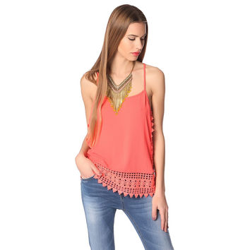 Orange cami top with crochet trim