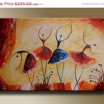 ON SALE 30% Ballet Dancers Figures Original acrylic painting on canvas Children Art Wall Decor