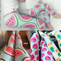 Mother Daughter Matching Clothes Fruit Printed Leggings Watermelon, Strawberry, Puieapple
