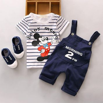 Minnie Mouse Set For Children Boy Overall clothing Summer Girl's Clothing Sets Printed Cartoon T-shirt With Braces Trousers Sets