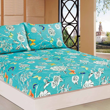 Tache 2-3 PC 100% Cotton Butterfly Wonderland Floral Colorful Girly Fitted Sheet Set