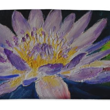 Bath Mat, Oil Painting Purple Lotus Flower Abstract Drawing Made In Th