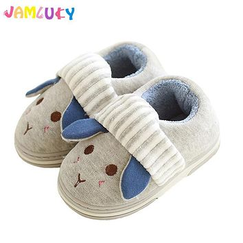 Winter Kids Slippers Boys Girls Household Cotton Shoes Cartoon Cute Wooden Floor Bedroom Baby Warm Slippers Children Shoes