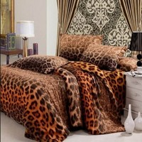 DIAIDI Leopard Animal Print Bedding Sanded Luxury Duvet Cover King Size Bedding Set Cotton Active Print Bed Sheets 4Pcs