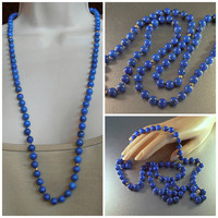 "Lapis Lazuli Bead 14K Necklace, Opera Length 32"" Long, Hand Knotted, 8mm Beads 65 grams"