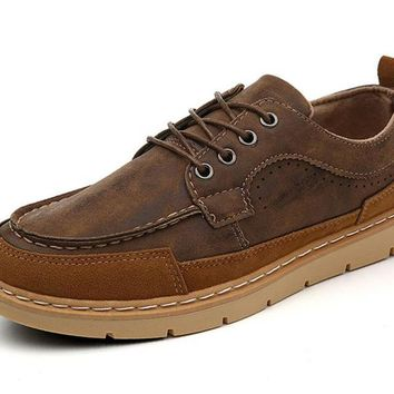 Mens Shoes pu Leather Shoes Moccasins Style Causal Mens Flats Lace-up Shoes Loafer