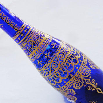 Cobalt Blue Henna Mehndi Gold Painted Incense Bong Pipe Bottle