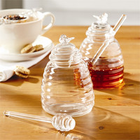 TWO'S COMPANY HONEY POT WITH LID AND DIPPING STICK