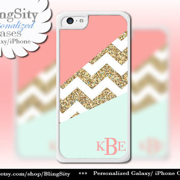 Coral Mint Gold Sparkle Chevron Monogram iPhone 5C case, 5 iPhone 4 Case Ipod 4 5 Case Gray Grey Block Personalized Gift NOT Actual Glitter