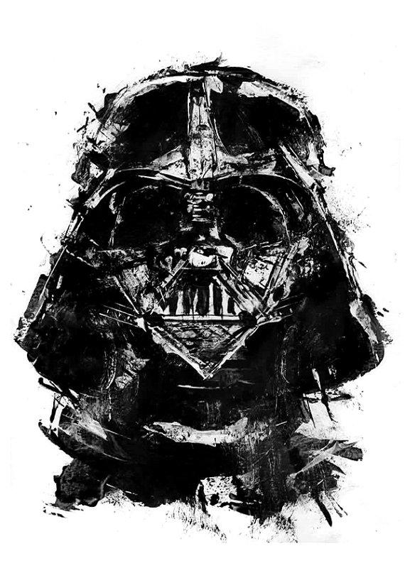 Darth vader star wars acrylic painting from blackraptorart on for Darth vader black and white