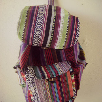 90s mexican print backpack vintage 1990s grunge ethnic print book bag  hippie boho tote festival backpack bc3379b0acfc8