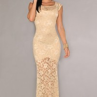 Two-toned Lace Sexy Long Evening Dress