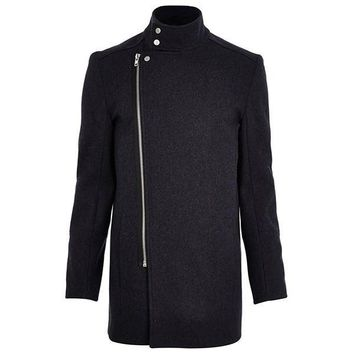 Sleek Cross Zipper Overcoat