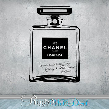 Chanel no 5 Classy and Fabulous - Vinyl Wall Decal Wall Art sticker - home decor bedroom bathroom parfume bottle chic quote a girl should be