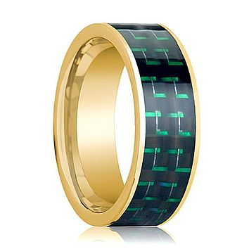 Mens Wedding Band 14K Yellow Gold with Black & Green Carbon Fiber Inlay Flat Polished Design