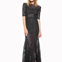 Floral Lace Short Sleeve Backless Bodycon Fishtail Side Slit Maxi Dress