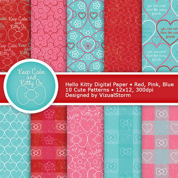 Hello Kitty Digital Paper, printable hello kitty party papers, blue, red and pink, hello kitty quote, bow, heart and daisy, Buy 2 Get 1 Free