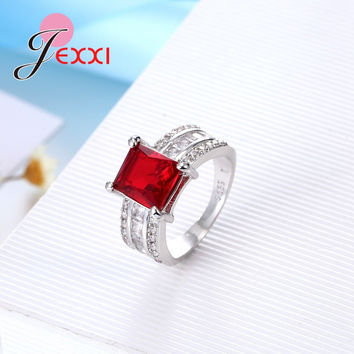 JEXXI Fashion 4 Colors Simple Women 925 Sterling Silver Rings Square Cubic Zirconia Engagement Wedding Promise Finger Rings