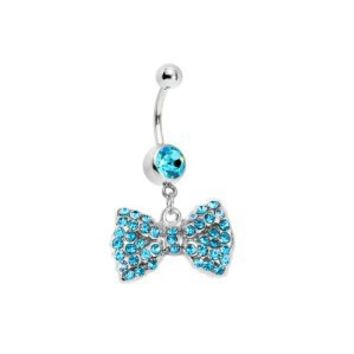 Aqua Bow Dangle Belly Ring With Stones Belly Button Ring, 316L Surgical Steel 14 Guage with 1 Belly Retainer