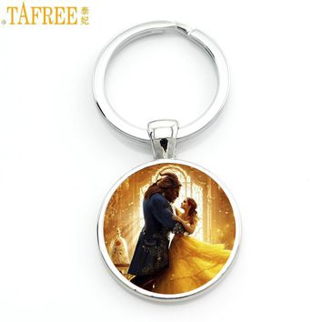 TAFREE 2017 Newest movie beauty and the beast princess charm keychain men women jewelry purse bag car key chain ring holder CT12