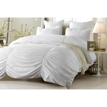 Ruched Design White Bedding Set-Includes Comforter & Duvet Cover - Style # 1005 C - Cherry Hill Collection in Full/Queen Size