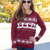 Frost Bite Burgundy Fair Isle Sweater