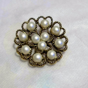 Pearl Brooch, Pin, Round, Heart Shaped,  Faux Pearl, Gold Tone, 1940-1950, Braided Gold Tone Heart Design, Estate Jewelry, Costume Jewellery
