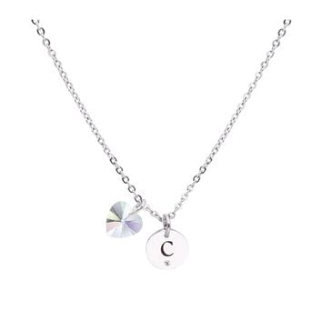 Dainty Initial Necklace made with Crystals from Swarovski  - C