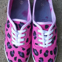 Women's Hand painted Pink, Black, and Purple Leopard Print Tennis Shoes