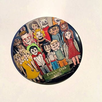 "Freak Club Portrait- LARGE 3"" Pinback Art Button"