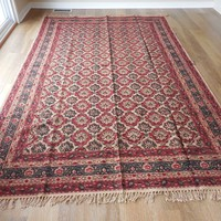 Boho Indian artisan made block printed rug