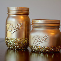 Gold Glitter Mason Jar Decor, Glitter Decor, Gold Decor, Gold Mason Jar, Dorm Room Decor, Bathroom Decor, Gold Glitter, Set of Two Jars