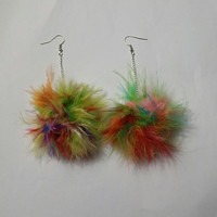 Pom Pom Earrings - Bright and Colorful Fluffy Marabou Feather Earrings - clueless - mean girls