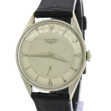 Vintage 1950's Longines Wittnauer Solid 14k White Gold Manual 23Z 34mm Watch