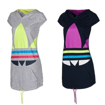 MDIGON1O Adidas Sports Casual Multicolor Clover Print Hooded Short Sleeve Knit Mini Dress Day First