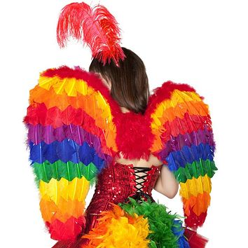 Sexy Parrot Showgirl Feather Wings Halloween Accessory