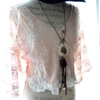 Crop top, boho blush shirt, bohemian clothing, romantic country chic lace crop top, lace embellished, for her, True rebel clothing